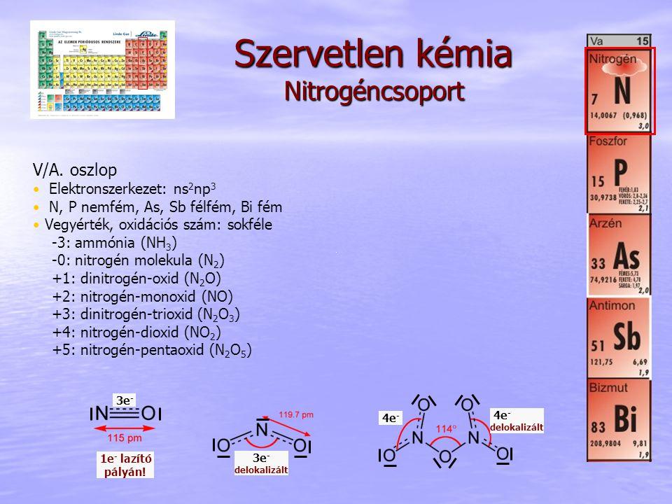 Szervetlen kémia Nitrogéncsoport V/A. oszlop Elektronszerkezet: ns 2 np 3 N, P nemfém, As, Sb félfém, Bi fém Vegyérték, oxidációs szám: sokféle -3: am