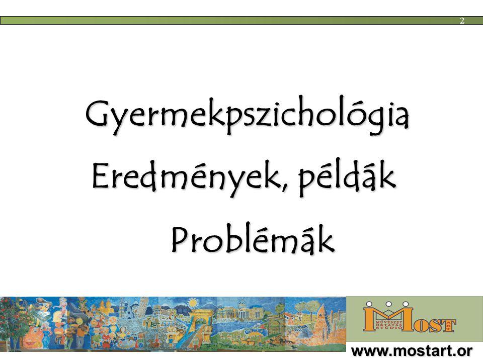 Gyermekpszichológia Eredmények, példák www.mostart.or g 2 Problémák