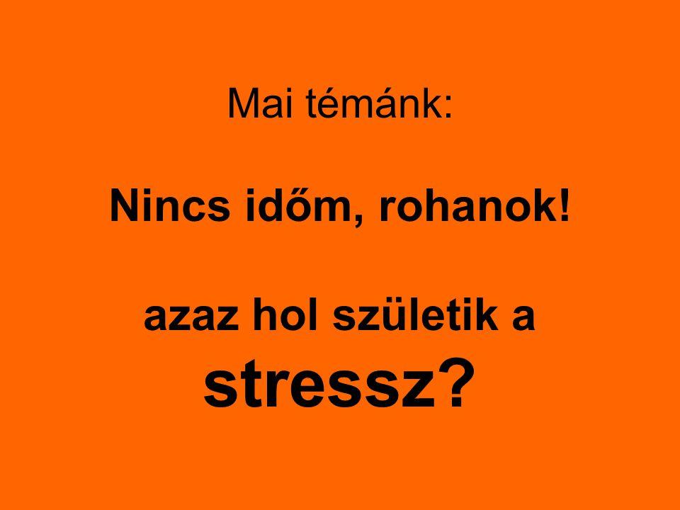 Mai témánk: Nincs időm, rohanok! azaz hol születik a stressz?