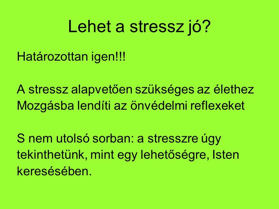Lehet a stressz jó? Határozottan igen!!! A stressz alapvetően szükséges az élethez Mozgásba lendíti az önvédelmi reflexeket S nem utolsó sorban: a str