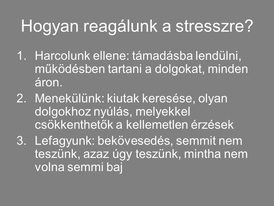 Hogyan reagálunk a stresszre? 1.Harcolunk ellene: támadásba lendülni, működésben tartani a dolgokat, minden áron. 2.Menekülünk: kiutak keresése, olyan