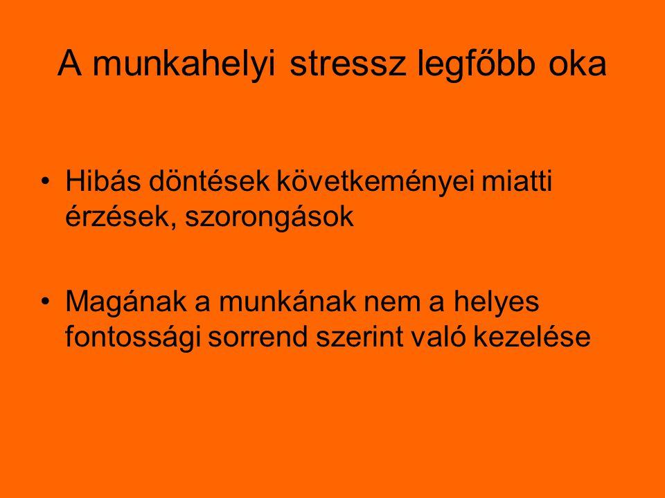 A munkahelyi stressz legfőbb oka Hibás döntések követkeményei miatti érzések, szorongások Magának a munkának nem a helyes fontossági sorrend szerint v