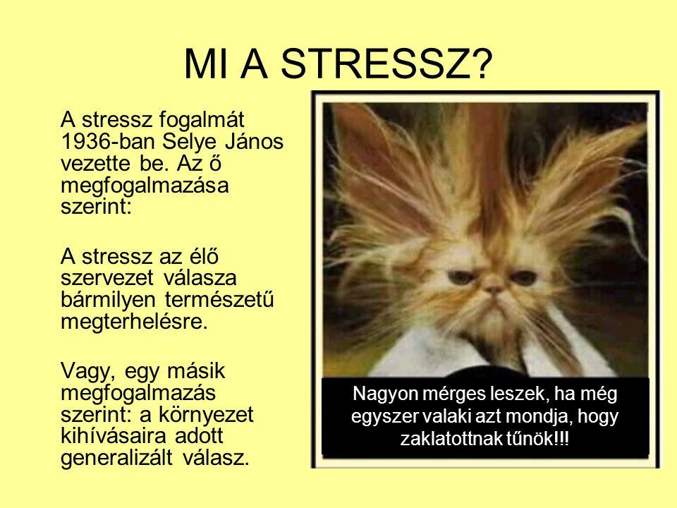 MI A STRESSZ? A stressz fogalmát 1936-ban Selye János vezette be. Az ő megfogalmazása szerint: A stressz az élő szervezet válasza bármilyen természetű
