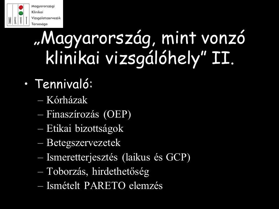 """""""Magyarország, mint vonzó klinikai vizsgálóhely"""" II. Tennivaló: –Kórházak –Finaszírozás (OEP) –Etikai bizottságok –Betegszervezetek –Ismeretterjesztés"""