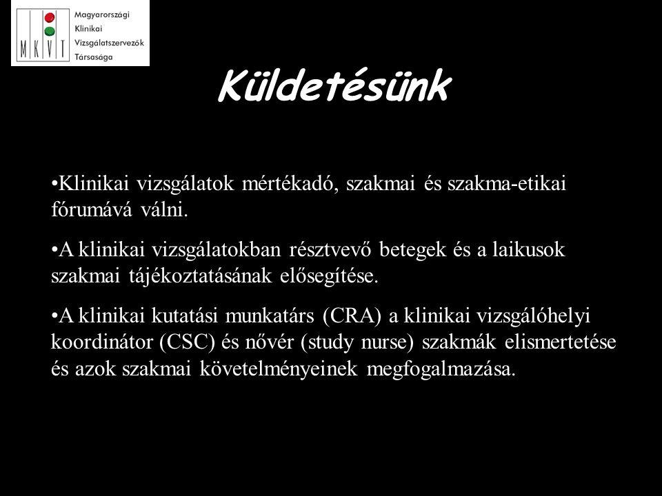 """2 éves stratégiai terv '05-'06 fő céljai: –A társaság anyagi forrásainak növelése –Tagság aktivizálása, elnökségi """"holdudvar kiépítése –Külső és belső kommunikáció javítása –""""Magyarország, mint vonzó klinikai vizsgálóhely program elindítása –Szakmai képzés"""