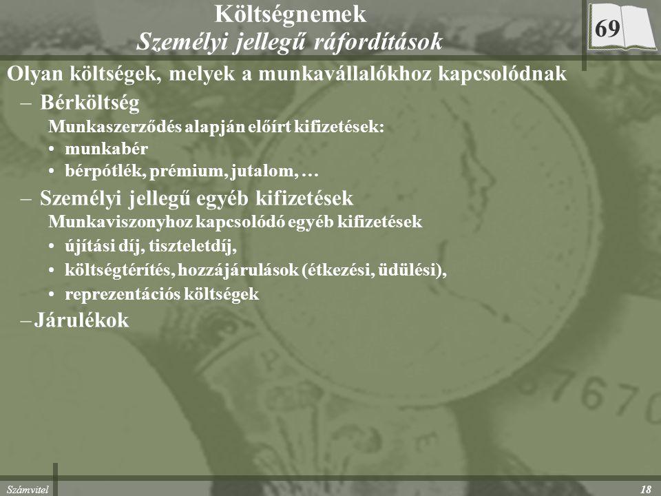 Számvitel 18 Költségnemek Személyi jellegű ráfordítások Olyan költségek, melyek a munkavállalókhoz kapcsolódnak – Bérköltség Munkaszerződés alapján el