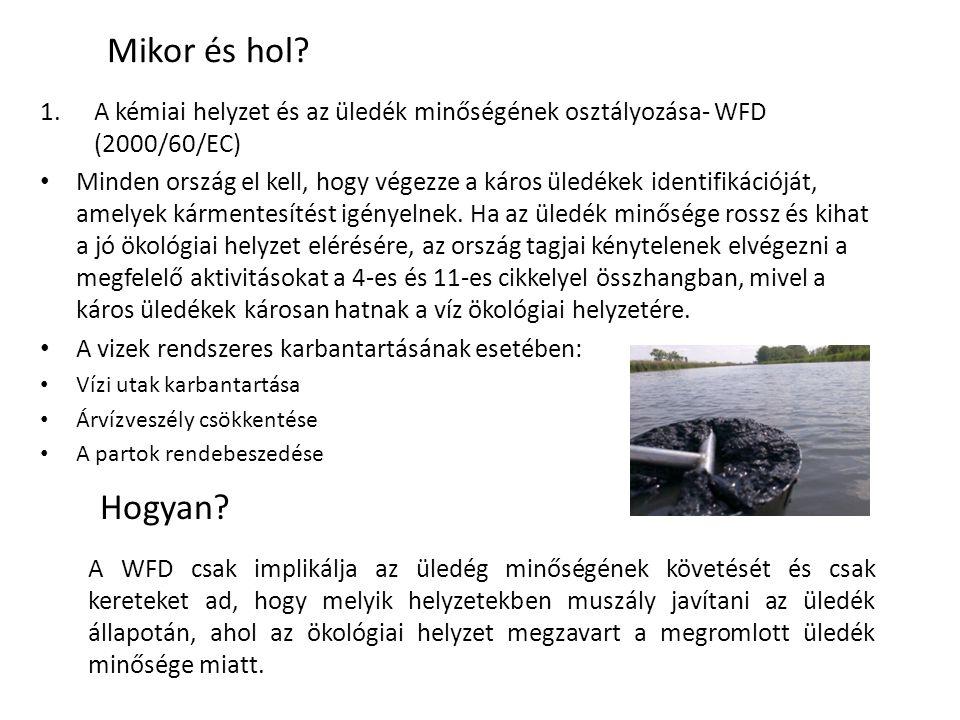 Mikor és hol? 1.A kémiai helyzet és az üledék minőségének osztályozása- WFD (2000/60/EC) Minden ország el kell, hogy végezze a káros üledékek identifi