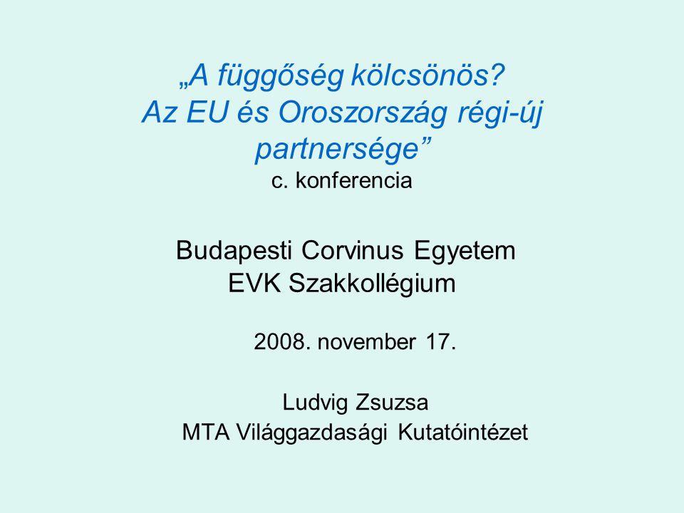 """""""A függőség kölcsönös? Az EU és Oroszország régi-új partnersége"""" c. konferencia Budapesti Corvinus Egyetem EVK Szakkollégium 2008. november 17. Ludvig"""