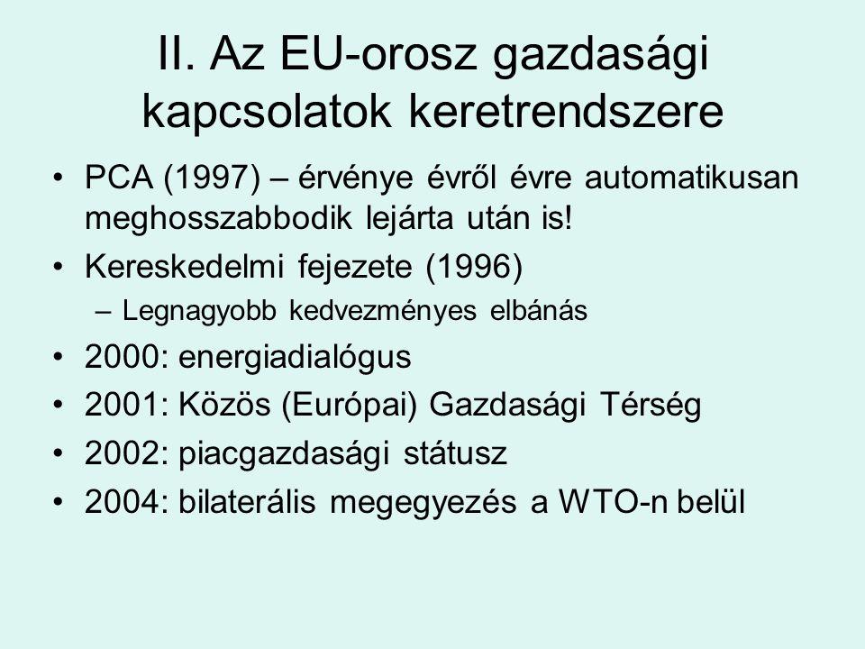 II. Az EU-orosz gazdasági kapcsolatok keretrendszere PCA (1997) – érvénye évről évre automatikusan meghosszabbodik lejárta után is! Kereskedelmi fejez