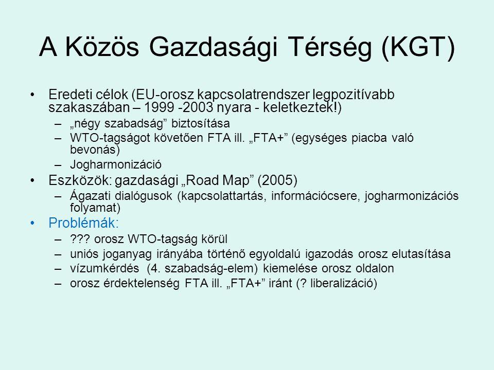"""A Közös Gazdasági Térség (KGT) Eredeti célok (EU-orosz kapcsolatrendszer legpozitívabb szakaszában – 1999 -2003 nyara - keletkeztek!) –""""négy szabadság"""