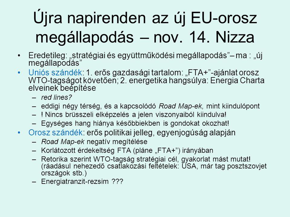 """Újra napirenden az új EU-orosz megállapodás – nov. 14. Nizza Eredetileg: """"stratégiai és együttműködési megállapodás""""– ma : """"új megállapodás"""" Uniós szá"""