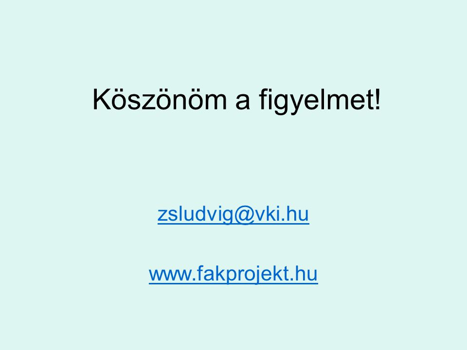 Köszönöm a figyelmet! zsludvig@vki.hu www.fakprojekt.hu