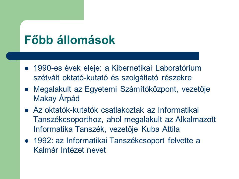 Főbb állomások 1990-es évek eleje: a Kibernetikai Laboratórium szétvált oktató-kutató és szolgáltató részekre Megalakult az Egyetemi Számítóközpont, vezetője Makay Árpád Az oktatók-kutatók csatlakoztak az Informatikai Tanszékcsoporthoz, ahol megalakult az Alkalmazott Informatika Tanszék, vezetője Kuba Attila 1992: az Informatikai Tanszékcsoport felvette a Kalmár Intézet nevet