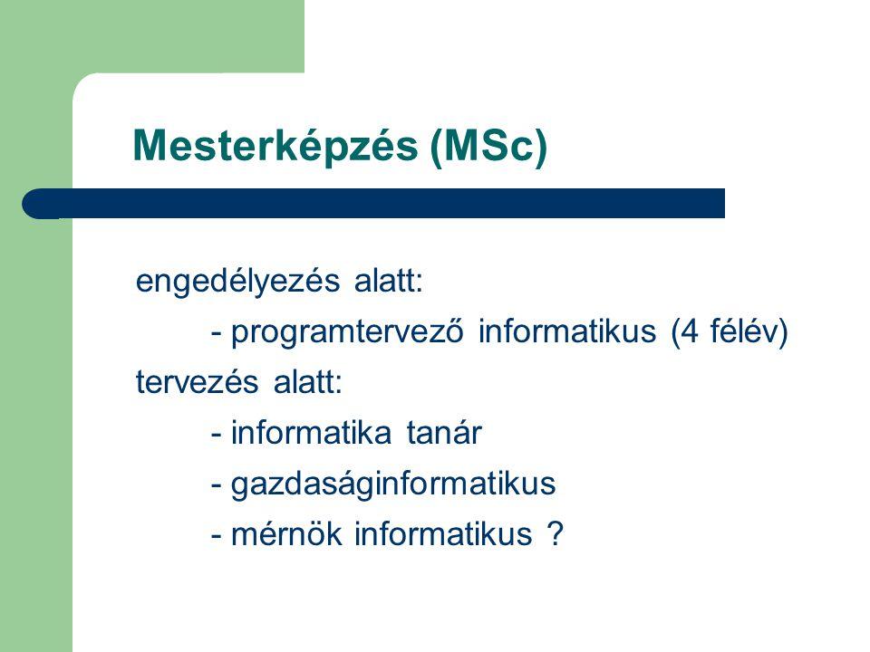 Mesterképzés (MSc) engedélyezés alatt: - programtervező informatikus (4 félév) tervezés alatt: - informatika tanár - gazdaságinformatikus - mérnök informatikus ?