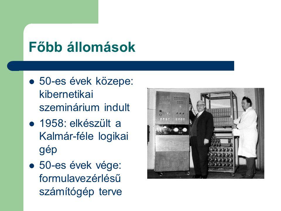 Főbb állomások 50-es évek közepe: kibernetikai szeminárium indult 1958: elkészült a Kalmár-féle logikai gép 50-es évek vége: formulavezérlésű számítóg