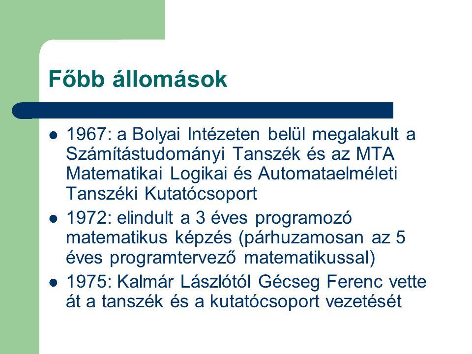 Főbb állomások 1967: a Bolyai Intézeten belül megalakult a Számítástudományi Tanszék és az MTA Matematikai Logikai és Automataelméleti Tanszéki Kutatócsoport 1972: elindult a 3 éves programozó matematikus képzés (párhuzamosan az 5 éves programtervező matematikussal) 1975: Kalmár Lászlótól Gécseg Ferenc vette át a tanszék és a kutatócsoport vezetését