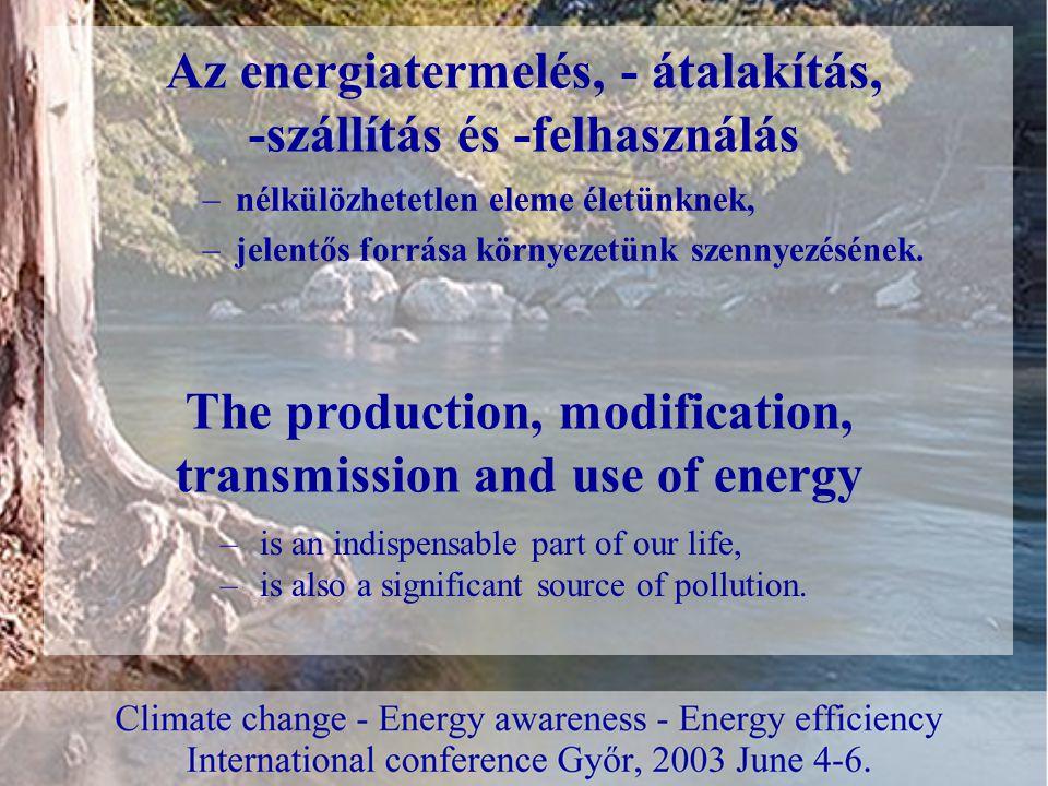 –nélkülözhetetlen eleme életünknek, –jelentős forrása környezetünk szennyezésének.
