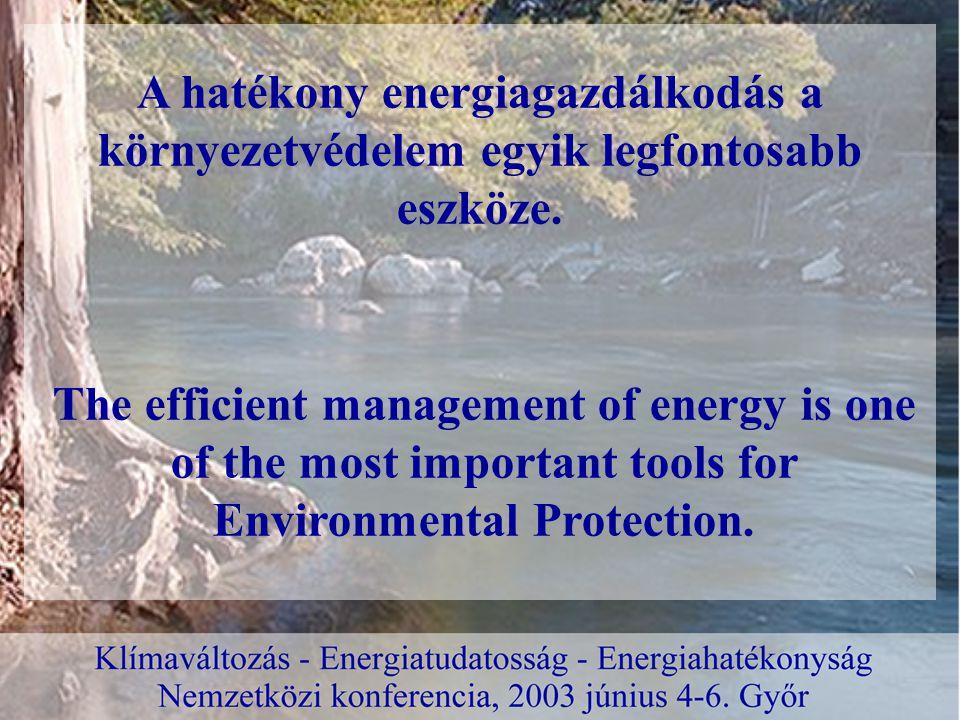 A hatékony energiagazdálkodás gazdasági érdek, a versenyképesség egyik feltétele.