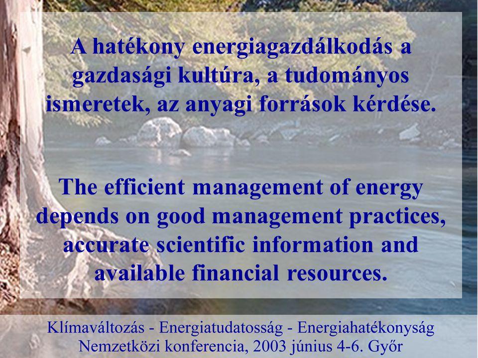 Tennivalók – Must to do Az energiagazdálkodás gondjainak megoldásához több szinten kell hozzájárulni:  sürgős a tennivalójuk a jogalkotóknak, (intenzívebbé kell tenni a megkezdett lépéseket a törvény- és rendeletalkotás területén a hatékony energiagazdálkodásra ösztönző jogi és gazdasági környezet kialakítása érdekében) establish an urgent agenda for the legislators, (intensify the initial legislative steps towards the interest of more efficient energy management.) To solve the problems of energy management we have to direct our efforts on: