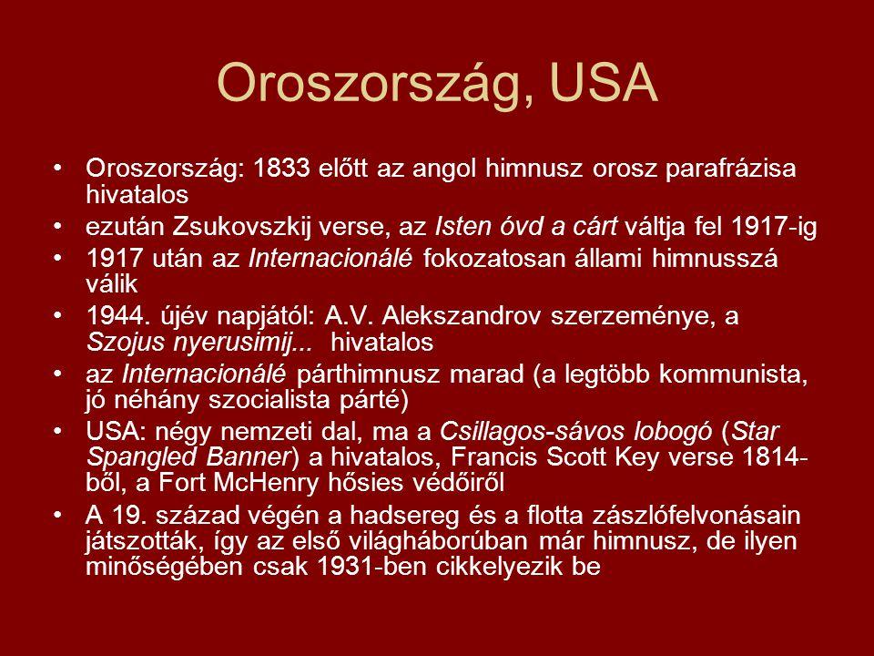 Oroszország, USA Oroszország: 1833 előtt az angol himnusz orosz parafrázisa hivatalos ezután Zsukovszkij verse, az Isten óvd a cárt váltja fel 1917-ig