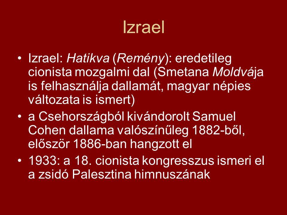 Izrael Izrael: Hatikva (Remény): eredetileg cionista mozgalmi dal (Smetana Moldvája is felhasználja dallamát, magyar népies változata is ismert) a Cse