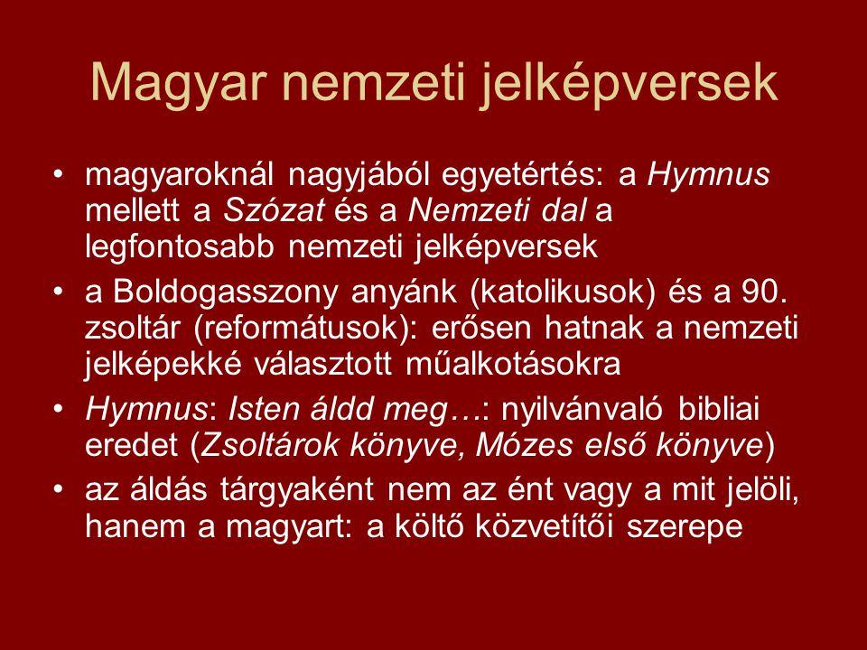 Magyar nemzeti jelképversek magyaroknál nagyjából egyetértés: a Hymnus mellett a Szózat és a Nemzeti dal a legfontosabb nemzeti jelképversek a Boldoga