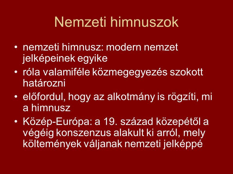 A finn himnusz és a Szózat magyar kultúra legérdekesebb hozzájárulása a világ himnuszaihoz: Vörösmarty Szózatának finn befogadása Szózat első közlése: 1837 elején az Auróra almanachban 1842: lefordítják németre 1845: Helsinkiben megjelenik a svéd fordítás Ludvig Runeberg ennek hatására készíti 1846 tavaszán hazafias versét (Vårt land = Hazánk) ezt zenésíti meg Fredrik Pacius 1847-ben – ez a mai finn himnusz (1889-es finn fordítását használják) a két világháború között független Észtország is a finn himnuszt követi, ugyancsak a lívek himnusza