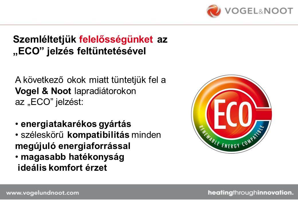 """Szemléltetjük felelősségünket az """"ECO"""" jelzés feltüntetésével A következő okok miatt tüntetjük fel a Vogel & Noot lapradiátorokon az """"ECO"""" jelzést: en"""