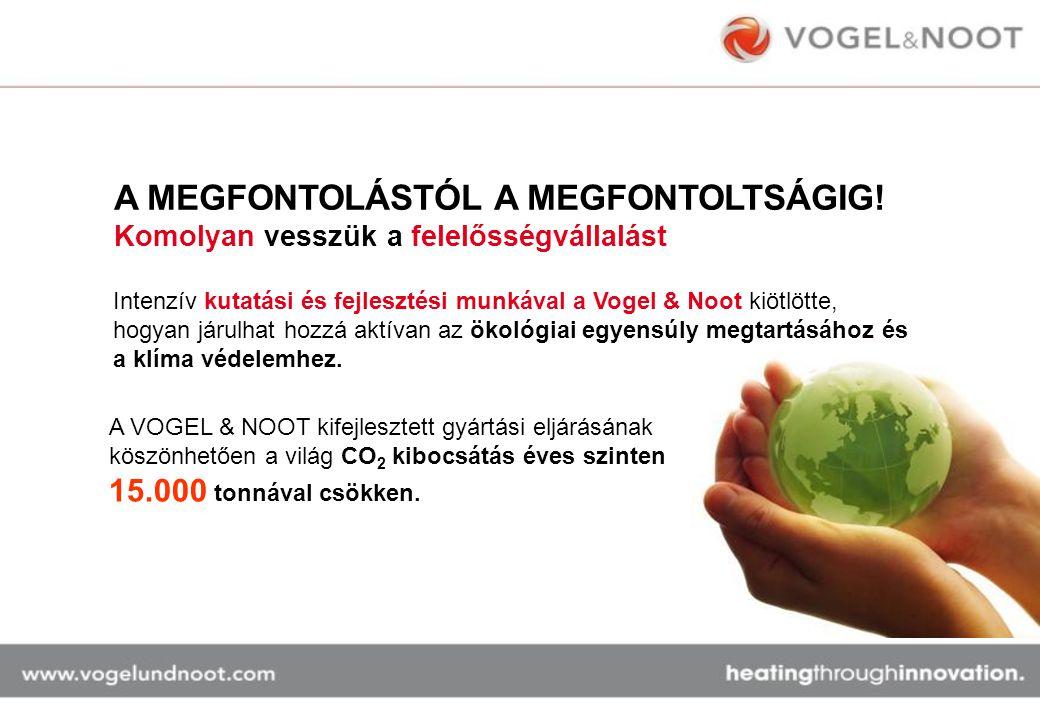 A MEGFONTOLÁSTÓL A MEGFONTOLTSÁGIG! Komolyan vesszük a felelősségvállalást A VOGEL & NOOT kifejlesztett gyártási eljárásának köszönhetően a világ CO 2