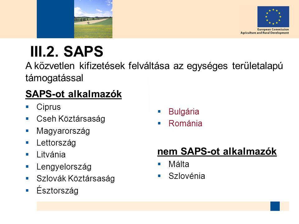 III.2. SAPS SAPS-ot alkalmazók  Ciprus  Cseh Köztársaság  Magyarország  Lettország  Litvánia  Lengyelország  Szlovák Köztársaság  Észtország 