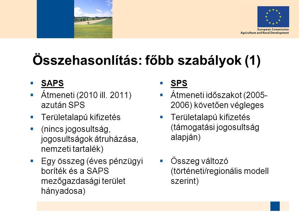 Összehasonlítás: főbb szabályok (1)  SAPS  Átmeneti (2010 ill. 2011) azután SPS  Területalapú kifizetés  (nincs jogosultság, jogosultságok átruház