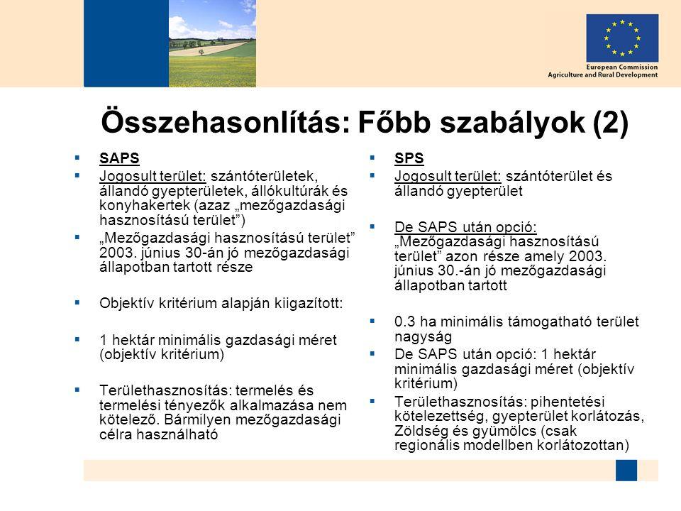 """Összehasonlítás: Főbb szabályok (2)  SAPS  Jogosult terület: szántóterületek, állandó gyepterületek, állókultúrák és konyhakertek (azaz """"mezőgazdasá"""