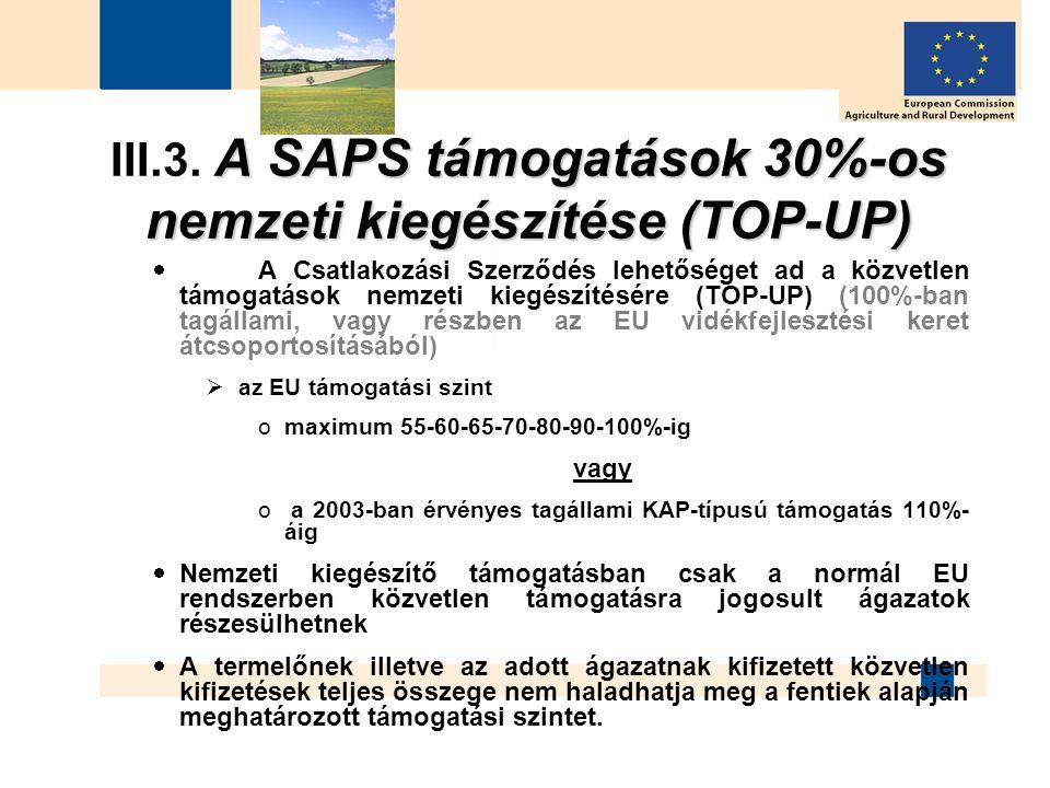 A SAPS támogatások 30%-os nemzeti kiegészítése (TOP-UP) III.3. A SAPS támogatások 30%-os nemzeti kiegészítése (TOP-UP)  A Csatlakozási Szerződés lehe