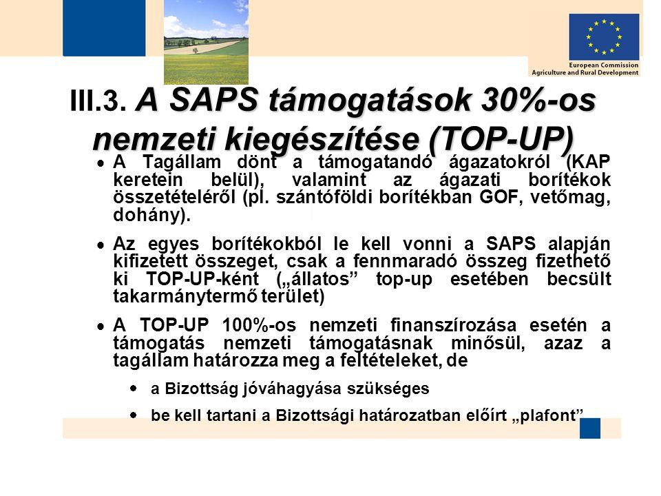 A SAPS támogatások 30%-os nemzeti kiegészítése (TOP-UP) III.3. A SAPS támogatások 30%-os nemzeti kiegészítése (TOP-UP)  A Tagállam dönt a támogatandó