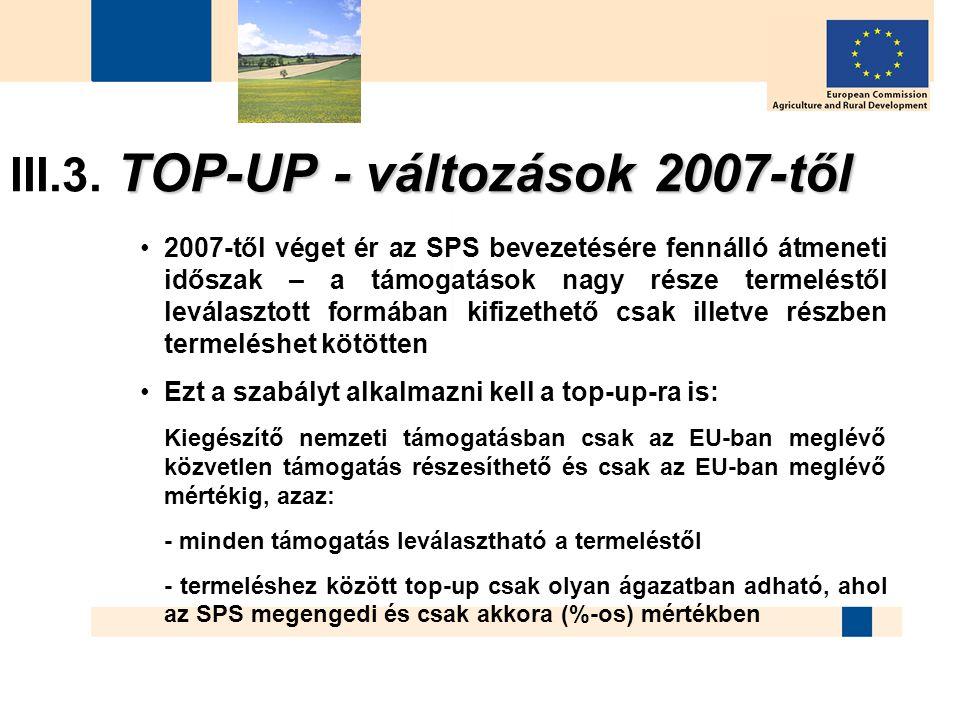 TOP-UP - változások 2007-től III.3. TOP-UP - változások 2007-től 2007-től véget ér az SPS bevezetésére fennálló átmeneti időszak – a támogatások nagy