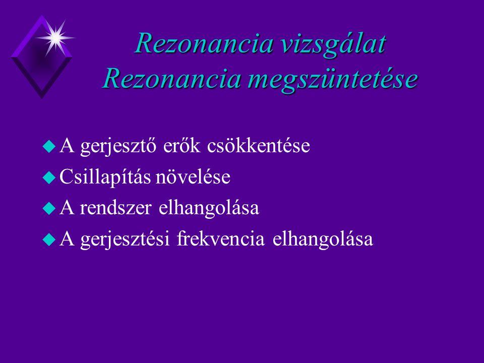 Rezonancia vizsgálat Rezonancia megszüntetése u A gerjesztő erők csökkentése u Csillapítás növelése u A rendszer elhangolása u A gerjesztési frekvencia elhangolása