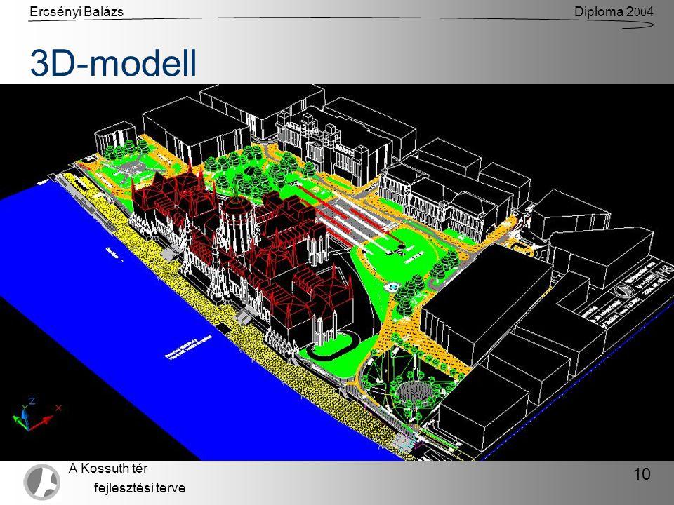 Ercsényi BalázsDiploma 2 00 4. A Kossuth tér fejlesztési terve 10 3D-modell