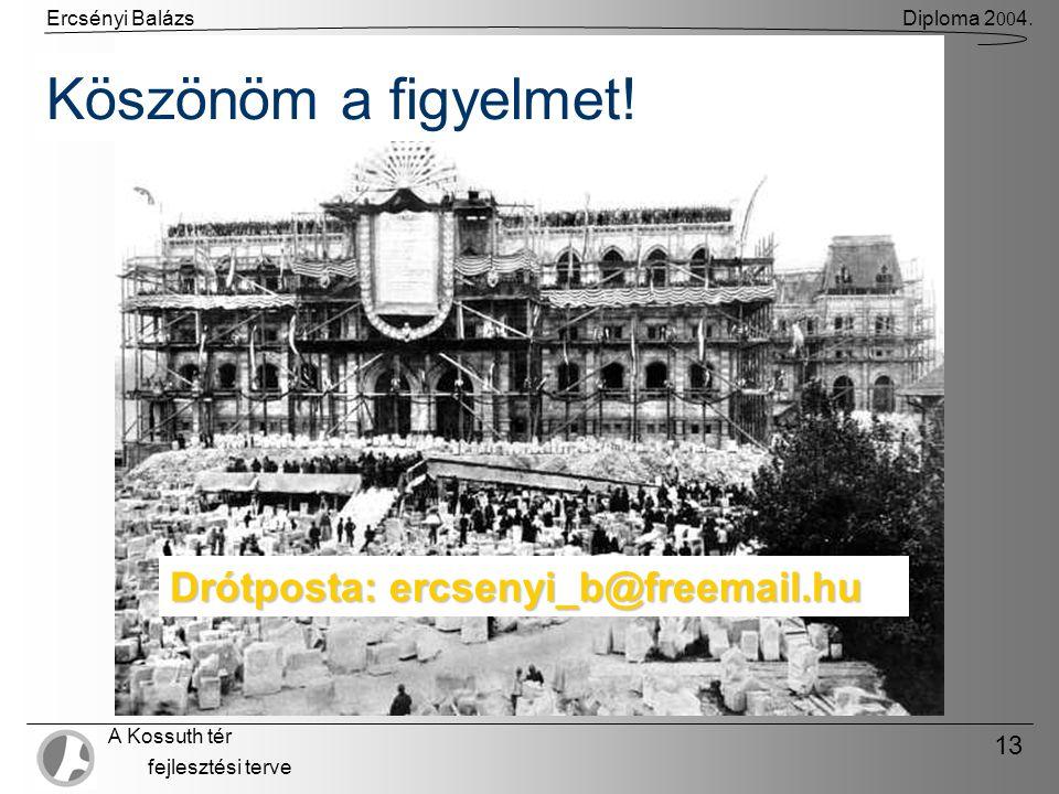 Ercsényi BalázsDiploma 2 00 4. A Kossuth tér fejlesztési terve 13 Köszönöm a figyelmet.