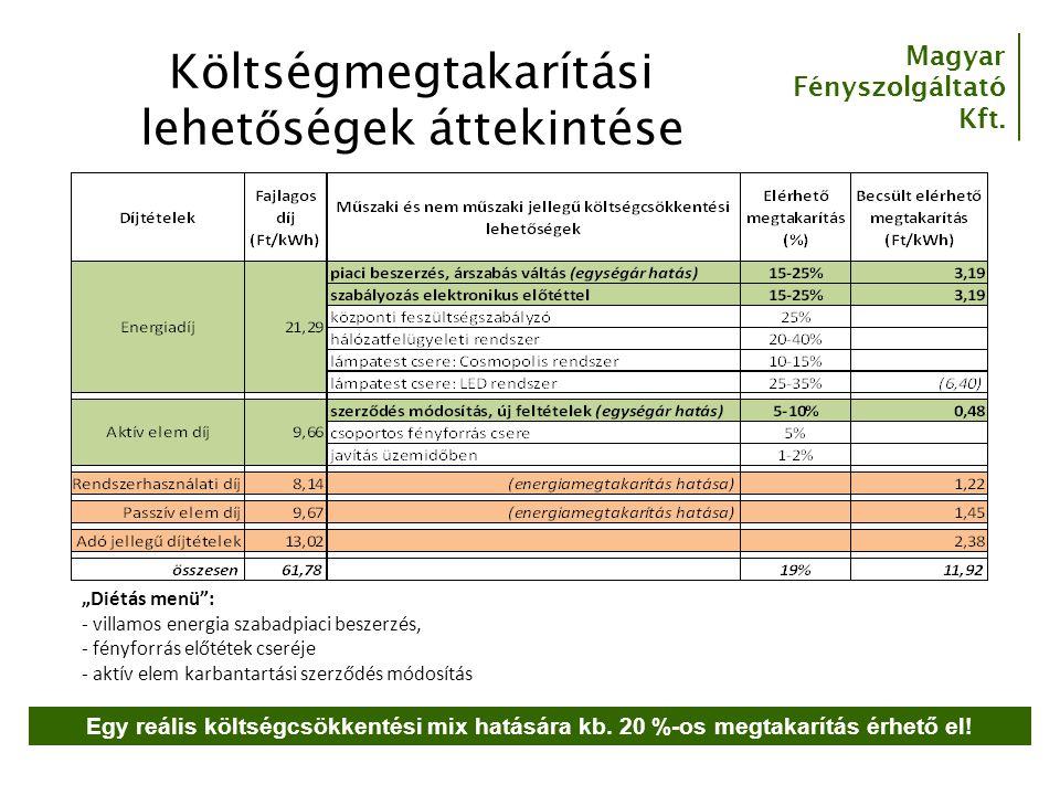 """Magyar Fényszolgáltató Kft. Költségmegtakarítási lehet ő ségek áttekintése """"Diétás menü"""": - villamos energia szabadpiaci beszerzés, - fényforrás előté"""