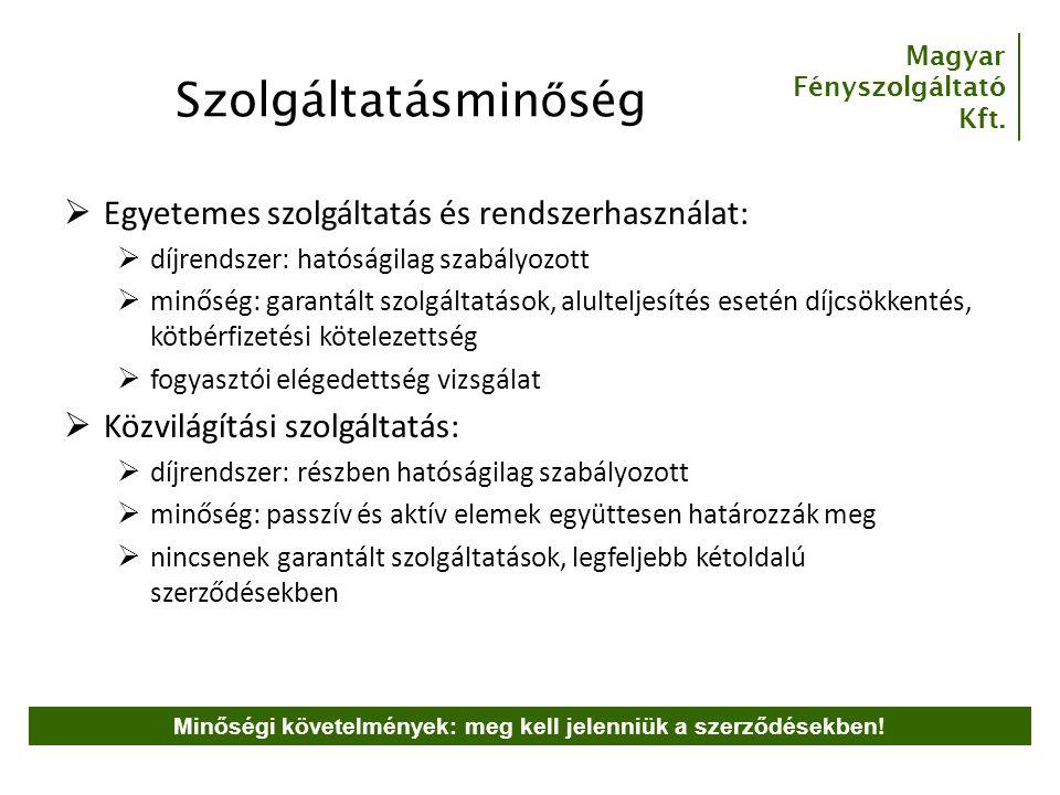 Magyar Fényszolgáltató Kft. Szolgáltatásmin ő ség  Egyetemes szolgáltatás és rendszerhasználat:  díjrendszer: hatóságilag szabályozott  minőség: ga