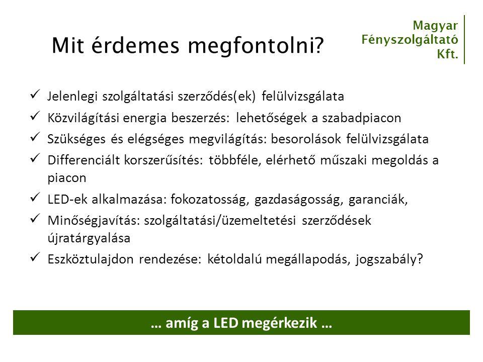 Magyar Fényszolgáltató Kft. Mit érdemes megfontolni? Jelenlegi szolgáltatási szerződés(ek) felülvizsgálata Közvilágítási energia beszerzés: lehetősége