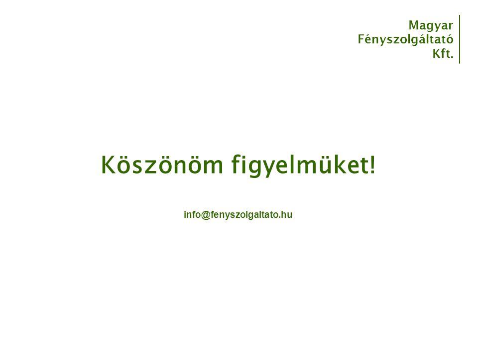 Magyar Fényszolgáltató Kft. Köszönöm figyelmüket! info@fenyszolgaltato.hu