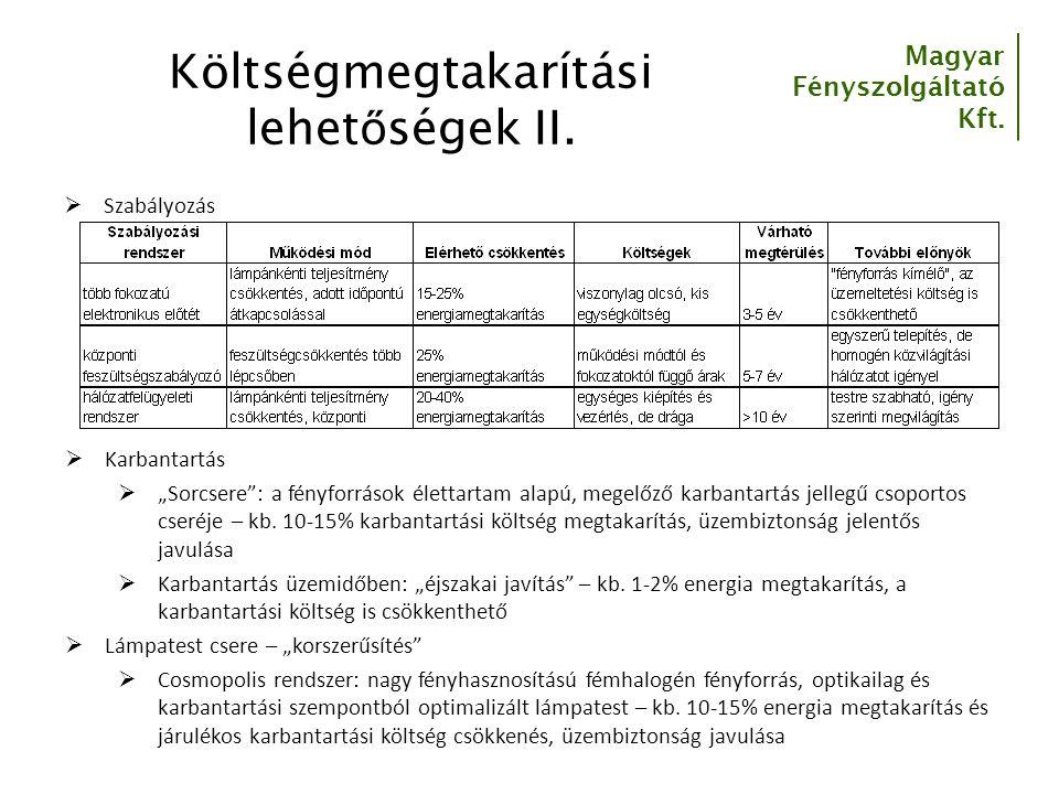 Magyar Fényszolgáltató Kft.Költségmegtakarítási lehet ő ségek II.