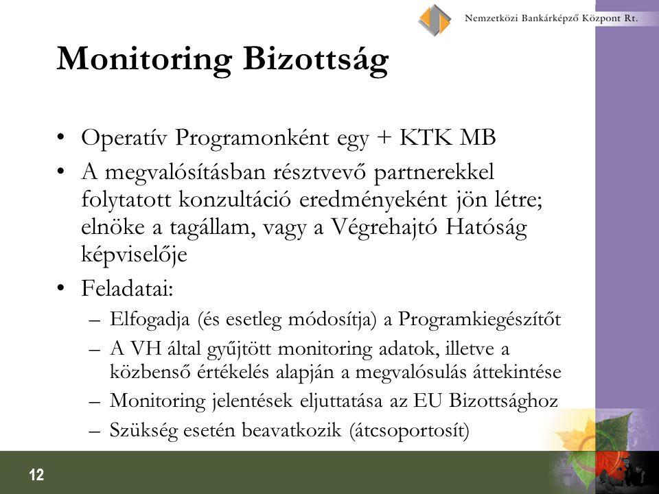 12 Monitoring Bizottság Operatív Programonként egy + KTK MB A megvalósításban résztvevő partnerekkel folytatott konzultáció eredményeként jön létre; e