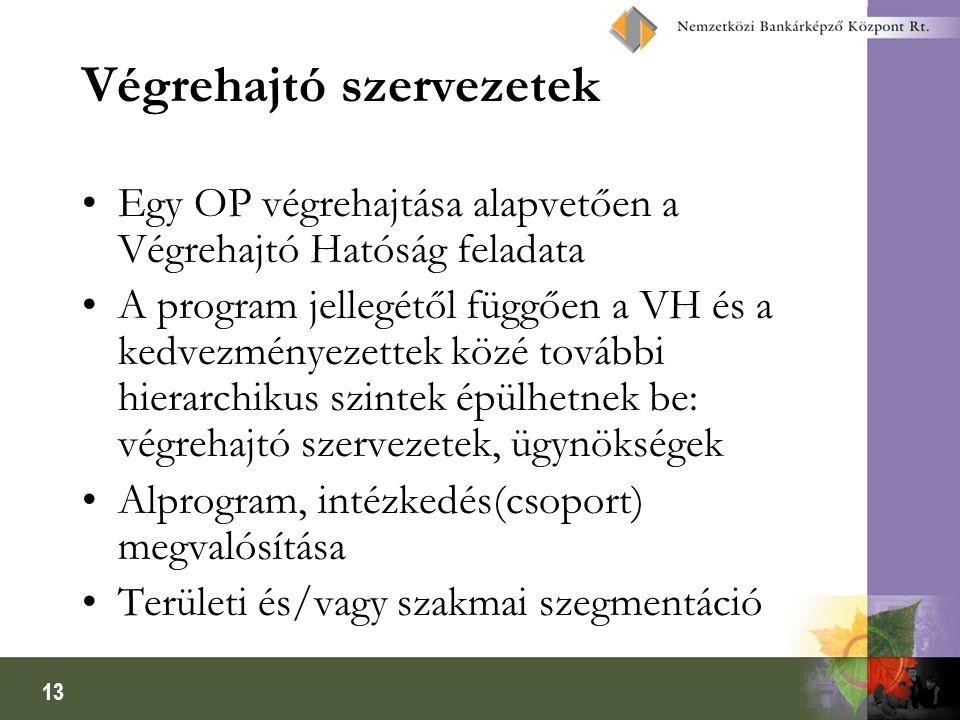 13 Végrehajtó szervezetek Egy OP végrehajtása alapvetően a Végrehajtó Hatóság feladata A program jellegétől függően a VH és a kedvezményezettek közé t