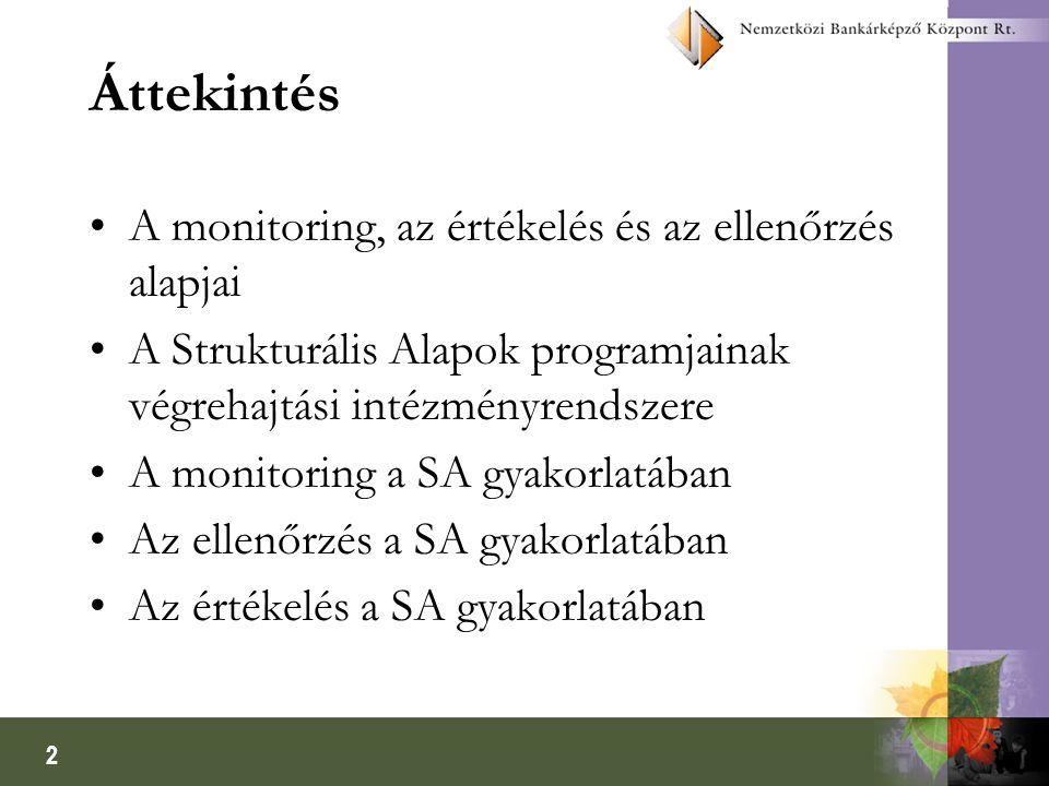 2 Áttekintés A monitoring, az értékelés és az ellenőrzés alapjai A Strukturális Alapok programjainak végrehajtási intézményrendszere A monitoring a SA