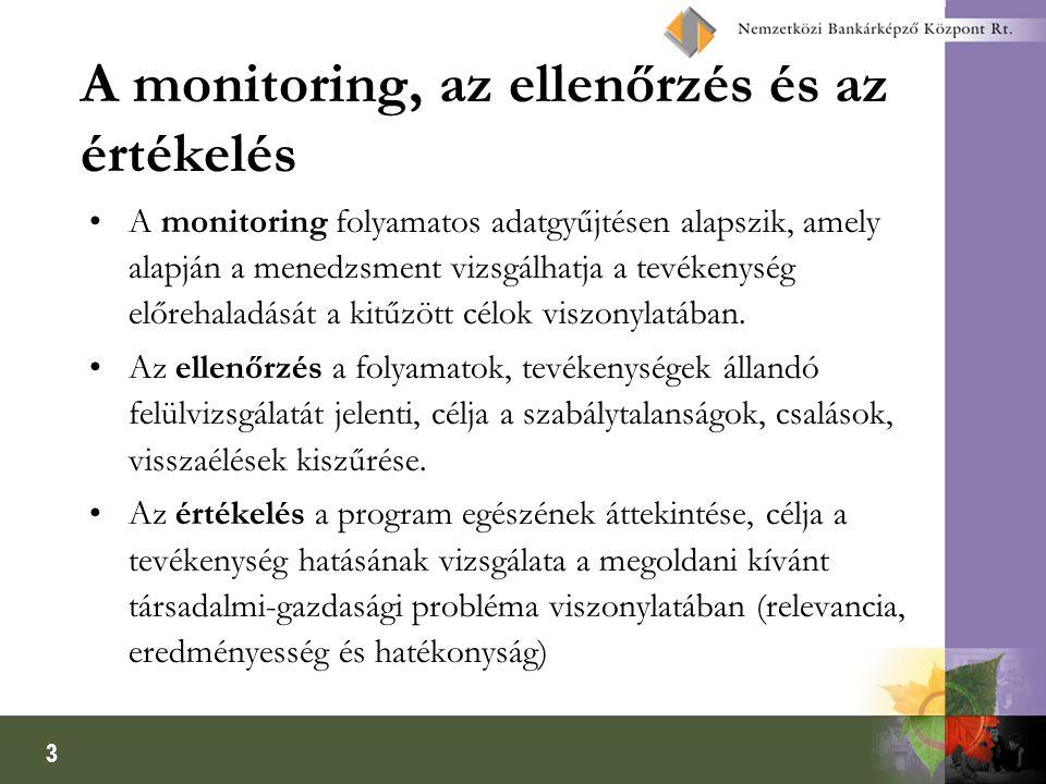 3 A monitoring, az ellenőrzés és az értékelés A monitoring folyamatos adatgyűjtésen alapszik, amely alapján a menedzsment vizsgálhatja a tevékenység e