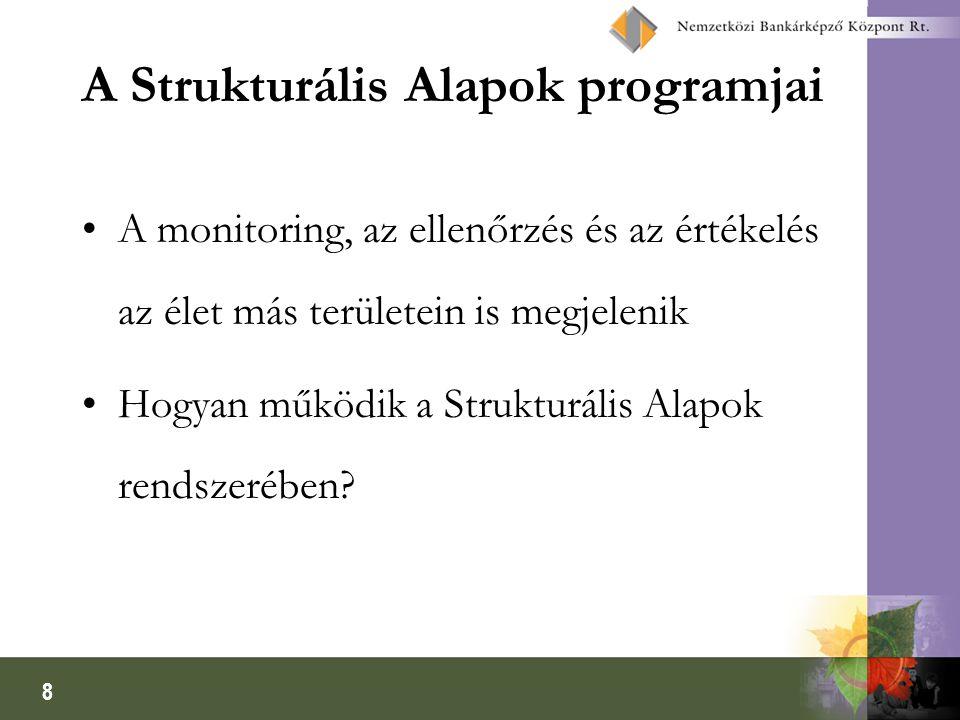 8 A Strukturális Alapok programjai A monitoring, az ellenőrzés és az értékelés az élet más területein is megjelenik Hogyan működik a Strukturális Alap
