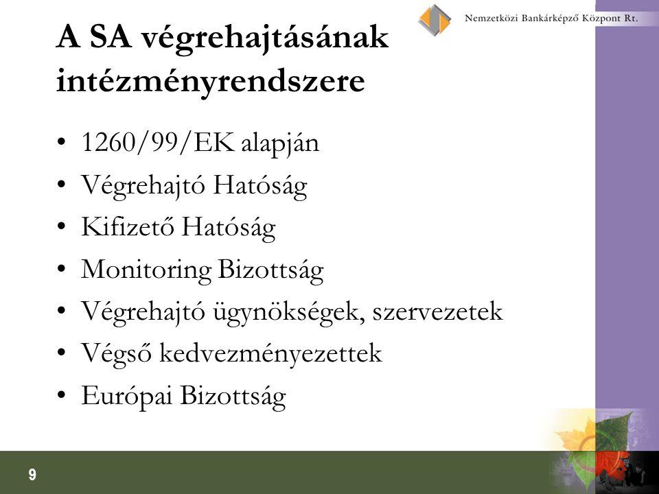 9 A SA végrehajtásának intézményrendszere 1260/99/EK alapján Végrehajtó Hatóság Kifizető Hatóság Monitoring Bizottság Végrehajtó ügynökségek, szerveze