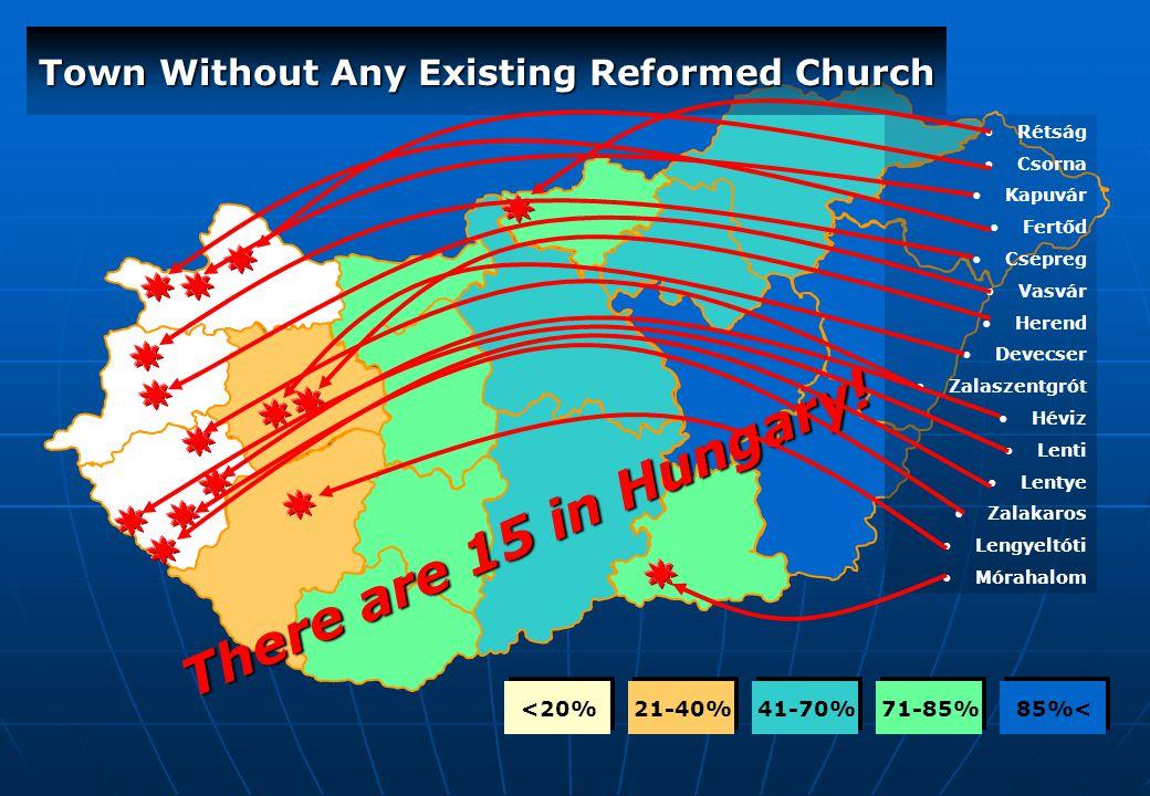 85%< 71-85% 41-70% 21-40% <20% Town Without Any Existing Reformed Church Rétság Csorna Kapuvár Fertőd Csepreg Vasvár Herend Devecser Zalaszentgrót Hév